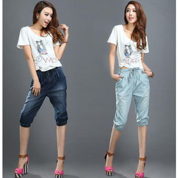Denim Capris 2016 Summer Pants Loose Pants High Waist Fashion Trousers  3/4 Pants  Thermal Breeches Womens Jeans Cropped Pants