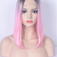 BLACK TO PINK SHORT SHOULDER LENGTH LACE FRONT SYNTHETIC WIG