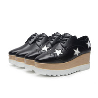New Autumn Star Shoes Loose Bottom Shoes High Heels British Shoes Women Flatform Shoes
