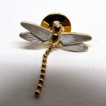 Vintage Avon Dragon Fly Pin with Dangle Tail Gold Tone Costume Jewelry