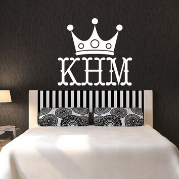 Crown Monogram Decal Bedroom Family Name Sticker Wedding Monogram Decal Vinyl Lettering T62
