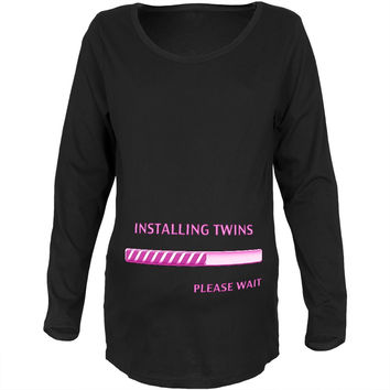 Installing Twin Girls Funny Black Maternity Soft Long Sleeve T-Shirt