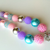 FREE SHIPPING -  Minnie Mouse Pink and Purple Chunky Bubblegum Necklace with Pendant