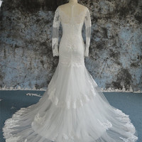 Long Sleeves Sheath Wedding Dress with Lace Appliques Zipper Back Bridal Gown with Lace Hem