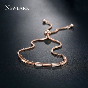NEWBARK Lucky Thick Bar Chain Bracelet Charm Pave Setting CZ Trendy Fashion Link Bracelet Femme Jewellery Accessories
