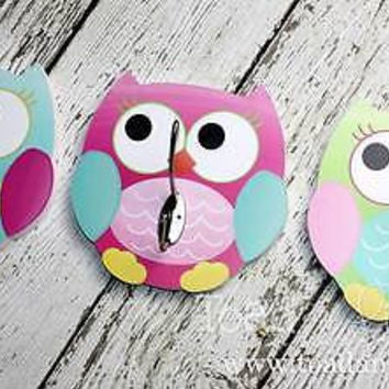 Set Of Three Kids Wall Hooks  Colourful Girly Owls Bedroom Clothing Hooks 3WH007
