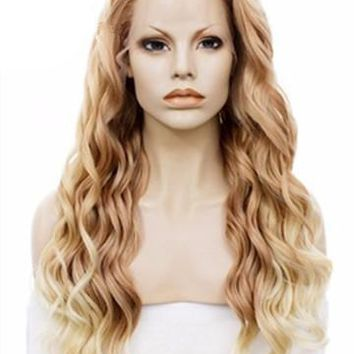 Fashion Style Wave Golden Blonde Ombre Wave Long Synthetic Lace Front Wig
