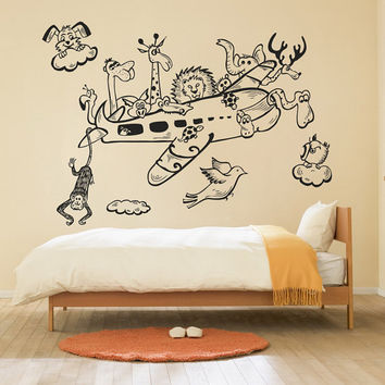 I184 Wall Decal Vinyl Sticker Interior Design baby animals cartoon airplane cloud funny giraffe deer elephant