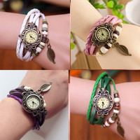 Women's Bohemian Leaf Wrist Watch Fashion Faux Leather Braid Bracelet Watches Quartz Movement Analog Wristwatch = 1928354052