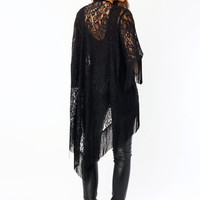 On-The-Fringe-High-Low-Lace-Cardigan BLACK - GoJane.com
