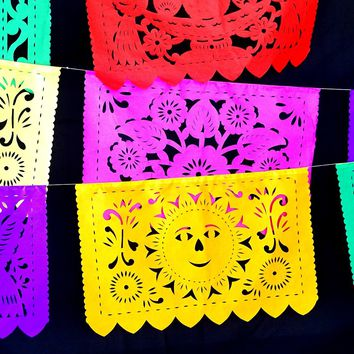 Mexican Party Decor, Papel Picado banner 16 feet long, bunting garland LARGE, fiesta decorations, Mexican Paper Banners, B272