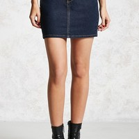 Denim Button-Front Mini Skirt