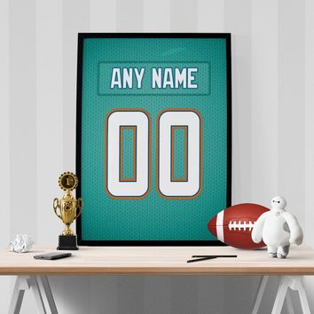 Miami Dolphins Jersey Poster - Print Personalized Select ANY Name & ANY Number