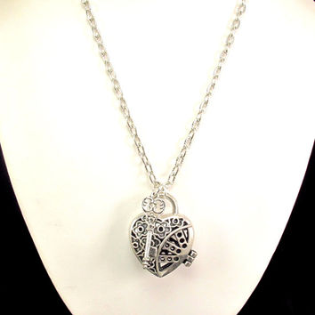 Aromatherapy Necklace - Beautiful, Silver, Heart Locket with Key