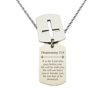 Mens Scripture Double Tag Necklace - Deuteronomy 31:8