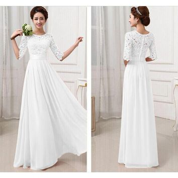Liva Girl Long Wedding Party Dress 2017 Women White Bridesmaid Half Sleeve Pleated Chiffon Maxi Dress With Lace Dresses Autumn