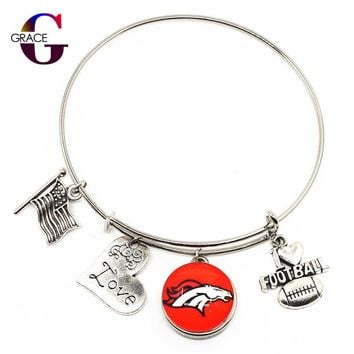 New Arrive Adjustable I Love Football Expandable Bangle Bracelets For Women With Denver Broncos Ginger Snaps Buttons DIY Jewelry