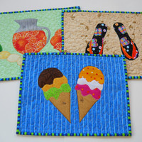 Summer Tablemat  Set of Three  Tablemat   Mug by ComfyCosyCrafts
