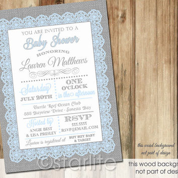 Blue Gray Typography Lace Burlap - Baby Shower Invitation - 5x7 - Baby Boy - PRINTABLE INVITATION DESIGN
