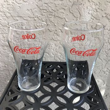 2 Vintage Coca Cola Coke Drinking Glasses Gift Condition