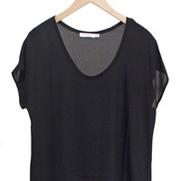 Black Scoop Neck Blouse-FINAL SALE