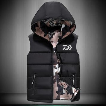 New Daiwa Men Winter Sports Fishing Clothing Fishing  Warm Hooded Coat Fishing Shirt  Big Size Sleeveless Hiking Clothes