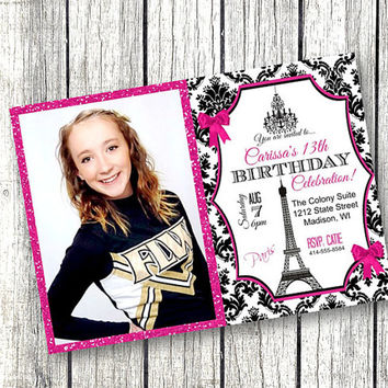 Paris birthday Invitation photo paris theme glitter sparkly Eiffel Tower pink black damask birthday party invite 5x7 customized printable