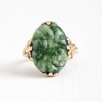 Vintage 10k Rosy Yellow Gold Filled Carved Flower Genuine Jade Ring - Size 6 1/4 Art Deco 1930s Green Nephrite Jade Ribbon Setting Jewelry