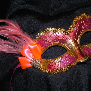 Halloween Mask Shades of Coral and Gold