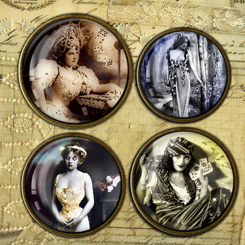 Enchanted women vintage images for Photo Jewelry, bottle caps, scrapbooking Digital Collage Sheet