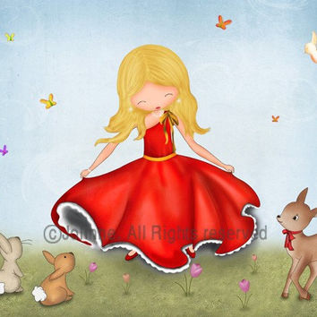 Children art print, girls room decor, nursery wall art, girl dancing with forest animals, children spring