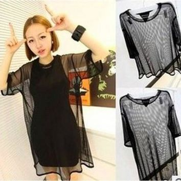Women Sheer Mesh Short Sleeve Shirt T Shirts Oversize Tops Blouse [8833594252]