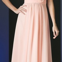 Long Chiffon Blush Gown V-Neck Evening Dress Pleated Bodice (4 Colors Available)