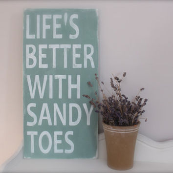 Beach Quote Wall Art Life's Better with Sandy Toes by InMind4U