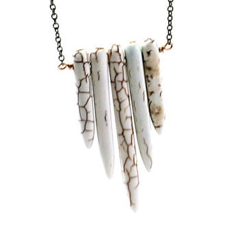 Long necklace: inspired by Native Americans necklace, white turquoise chevron necklace tribal buffalo turquoise ethnic brown neutral