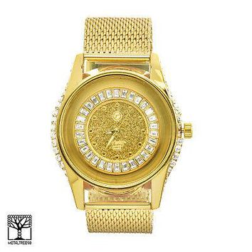 Jewelry Kay style Men's Gold Plated Iced Bling CZ Stoned Fashion Metal Mesh Band Watches WM 7381 G