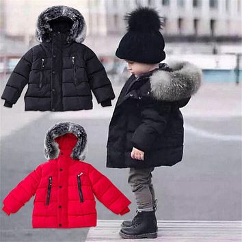 Baby Boy Winter Warm Coat Hair Collar Warm Quilted Coat Down Jacket Baby Clothes Fashion Casual Jacket for 2-6 Years Kids Boy