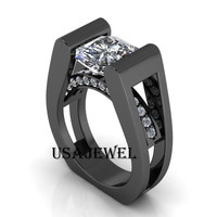 Designer 2.37ct Round Solitaire Sterling silver engagement ring with Free Shipping and Free GIFT