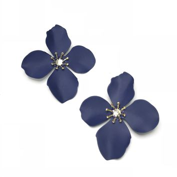 Four Petal Studs in Navy