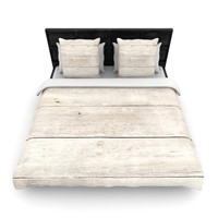 "Susan Sanders ""White Wash Wood"" Beige White Woven Duvet Cover"