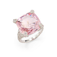 Judith Ripka - Pink Crystal, White Sapphire & Sterling Silver Twisted Ring