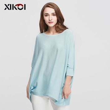 New Autumn Casual Women Sweaters Clothes Fashion Batwing Sleeve Pullover Solid O-Neck Pullovers Thin Women Sweater Clothing