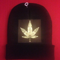 "KB ""Weed Money"" black on black beanie with a dollar bill folded into a weed leaf"