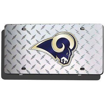 Los Angeles LA Rams NFL Laser Cut Diamond Plate License FREE US SHIPPING