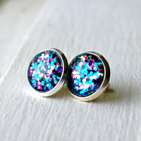 krazy kaleidoscope sparkly silver plated post earrings