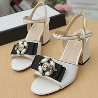 GUCCI Bee Pearl Women Fashion Sandals High Heels Shoes