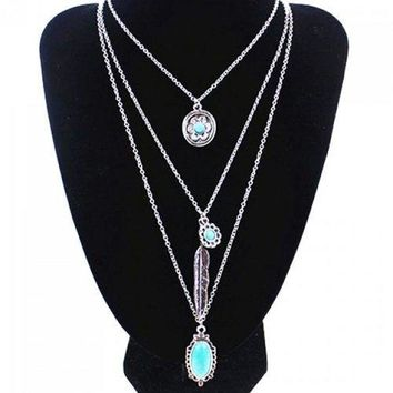 Stylish Multilayer Faux Turquoise Feather Flower Pendant Sweater Chain For Women - Silver