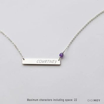 Bar Necklace with birthstones NBH35x5G1