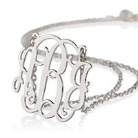 Monogram Necklace Sterling Silver Personalized Name Necklace | AihaZone Store