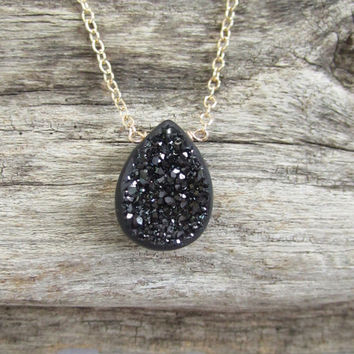 Black Window Druzy Necklace Titanium Drusy Quartz 14K GF Cable Chain